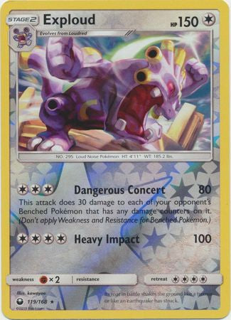 Pokemon Celestial Storm - Exploud - 119/168 - As New Reverse Holo card