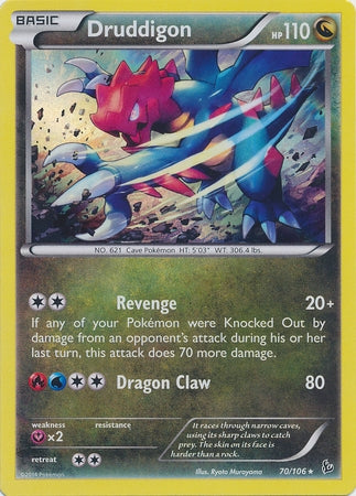 Pokemon XY Flashfire - Druddigon - 070/106-XYFF - Used Rare card