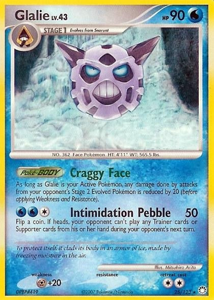Pokemon Mysterious Treasures - Glalie - 025/123 - Used Rare card
