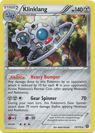 Pokemon XY Steam Siege - Klinklang - 073/114 - Used Rare card