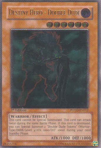 Yu-Gi-Oh Power of the Duelist - Destiny Hero Double Dude (ultimate) - POTD-EN012-LY37 - Used Ultimate Rare card