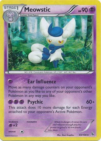 Pokemon XY Flashfire - Meowstic - 043/106*U - As New Theme Deck Rare card