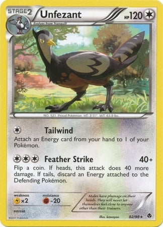 Pokemon Emerging Powers - Unfezant - 82/98 - As New Rare card