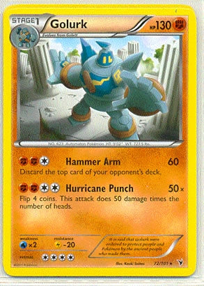 Pokemon Noble Victories - Golurk - 072/101 - Used Rare card