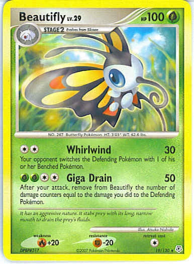 Pokemon Diamond and Pearl - Beautifly - 019/130 - As New Rare card