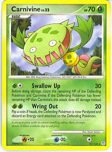 Pokemon Diamond and Pearl - Carnivine - 021/130 - As New Rare card