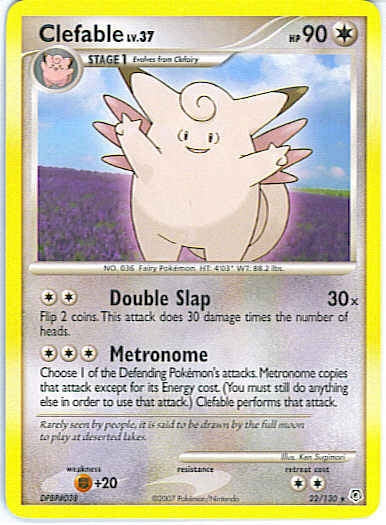 Pokemon Diamond and Pearl - Clefable lv 37 - 022/130 - Used Rare card