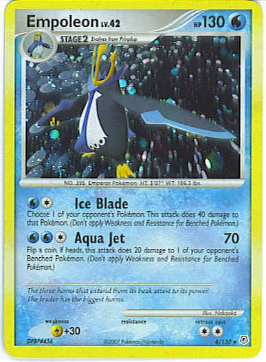 Pokemon Diamond and Pearl - Empoleon - 004/130 - New Holo Rare card