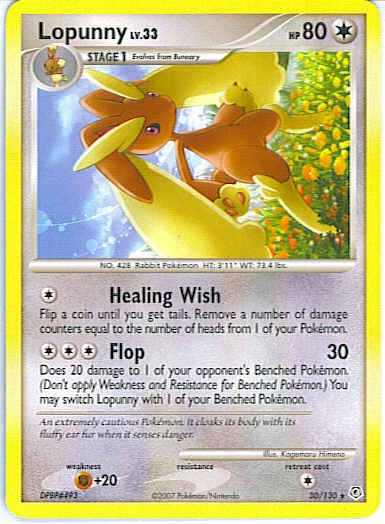 Pokemon Diamond and Pearl - Lopunny - 030/130 - As New Rare card