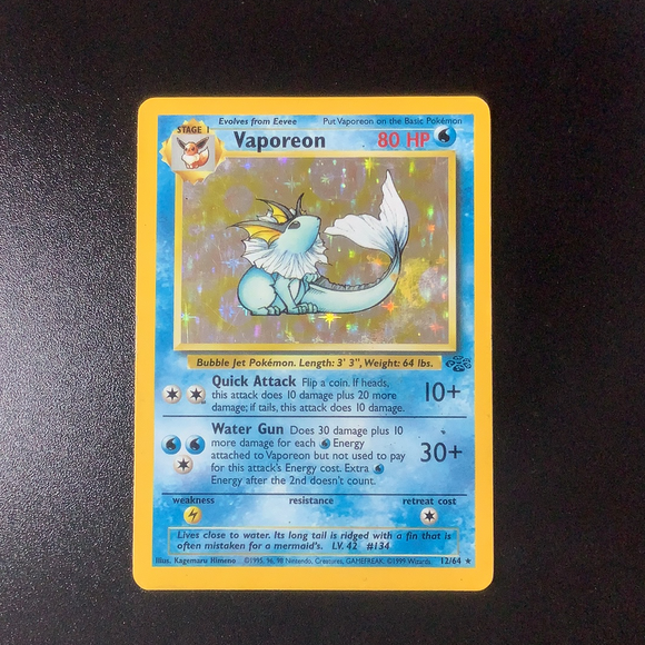 Pokemon Jungle - Vaporeon - 012/64 - As New Rare card