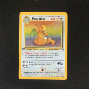 Pokemon Fossil - Dragonite - 004/62*U - Used Holo Rare card