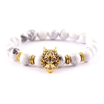 Bracelet Bijoux Loup Perles Blanches Or