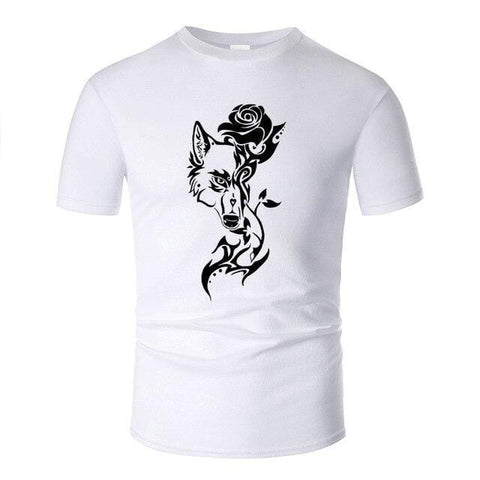 T Shirt Loup Rose Blanc