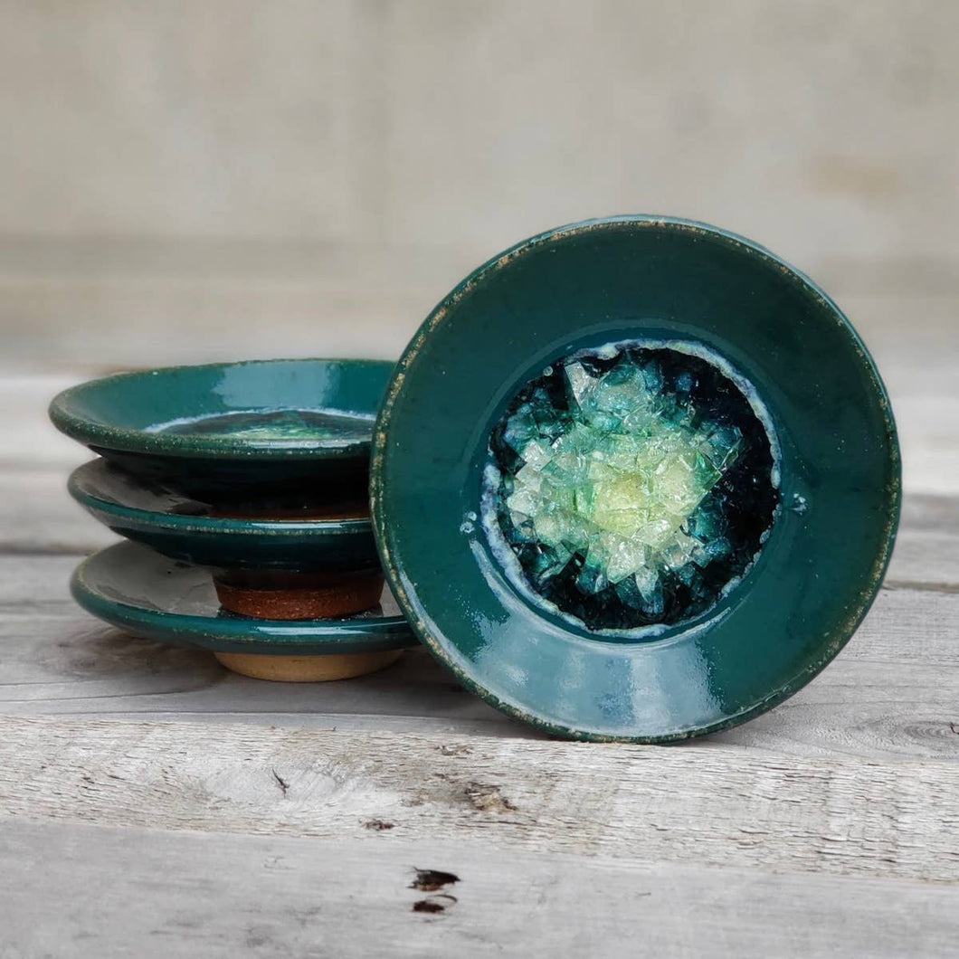 Geode Glass Bowl  - Blue Green