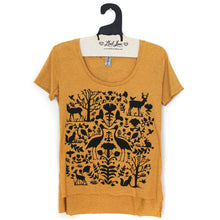 Load image into Gallery viewer, Gold Mustard Scoop Hi Lo Tee with Folk Print