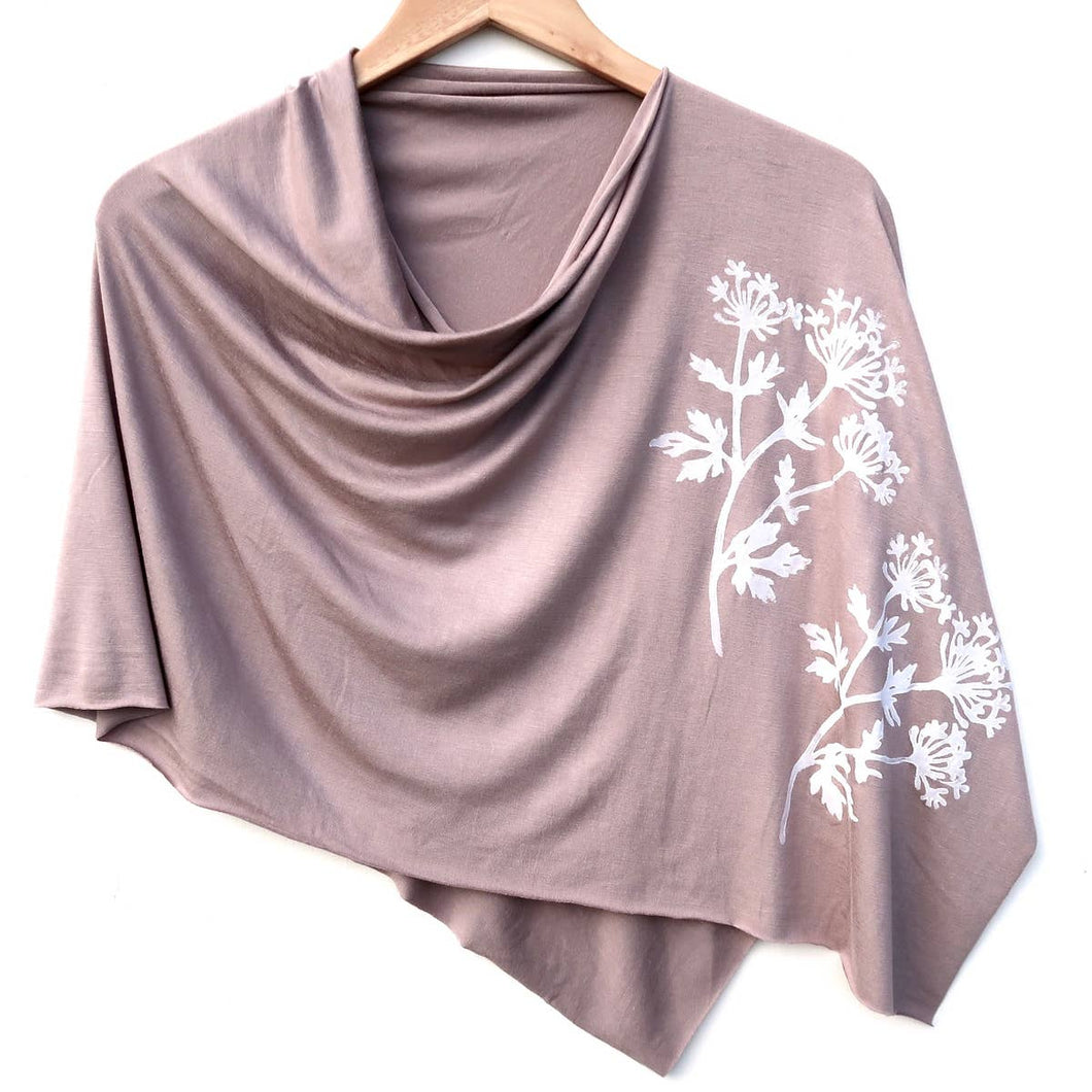 Parsley Poncho Taupe with White