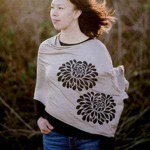 Chrysanthemum Poncho Teal with White