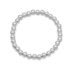 "7"" 6mm Sterling Silver Bead Stretch Bracelet"