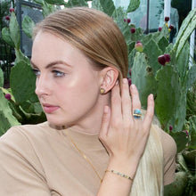 Load image into Gallery viewer, 14 Karat Gold Plated Bead Edge Post Earrings