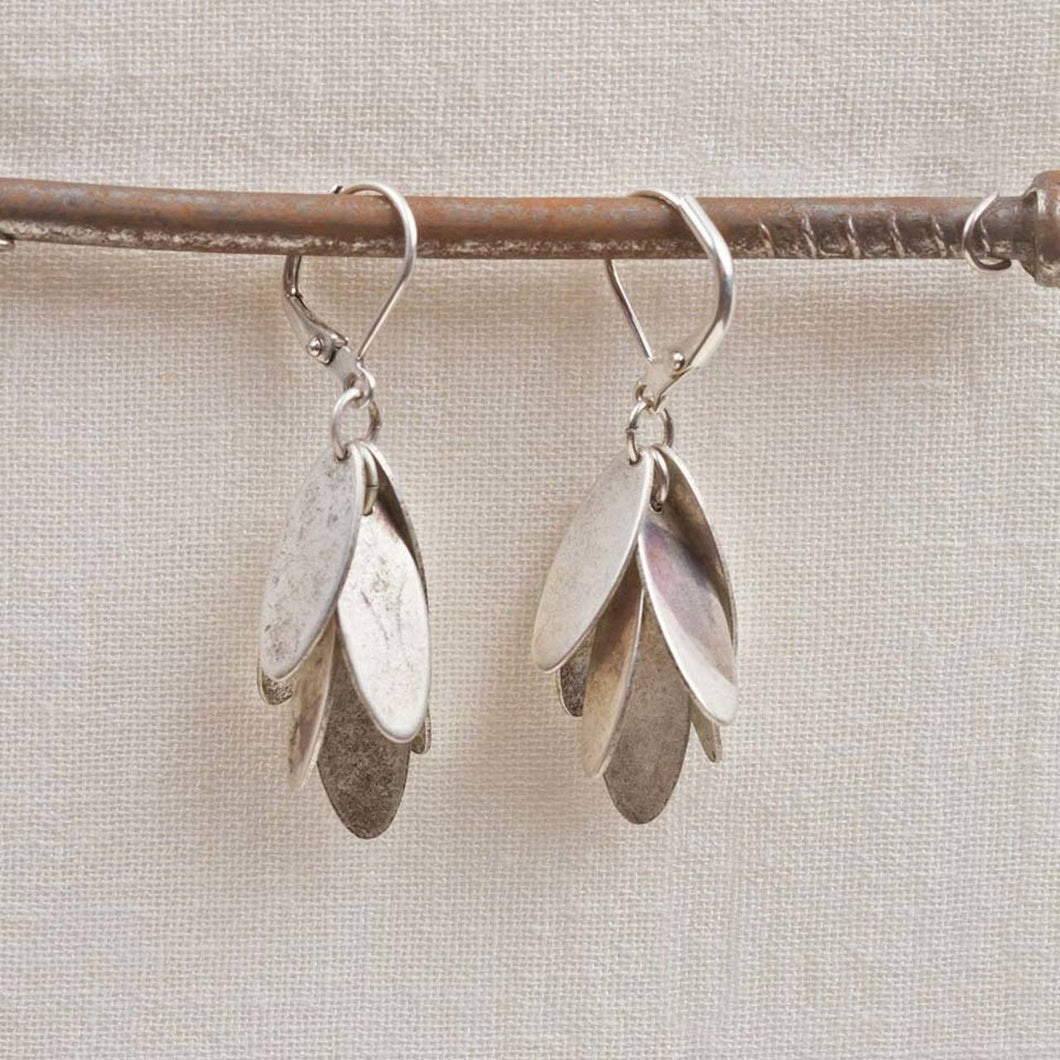 Oval Dangle Earrings -Silver
