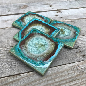 Geode Crackle Coaster - Green
