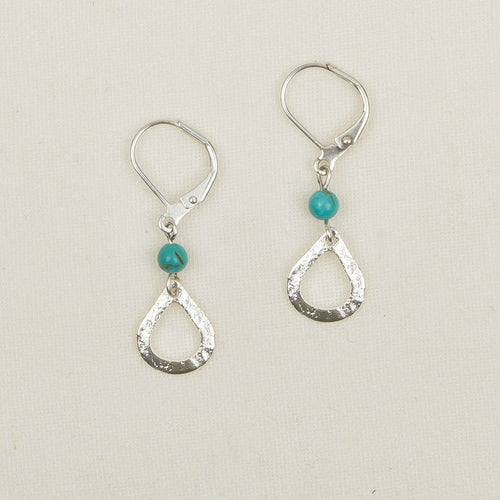 Small Hammered Silver Drop with Stone Earrings