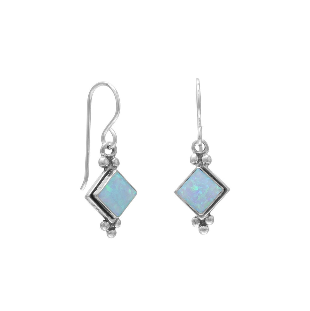 Diamond Shape Synthetic Blue Opal French Wire Earrings