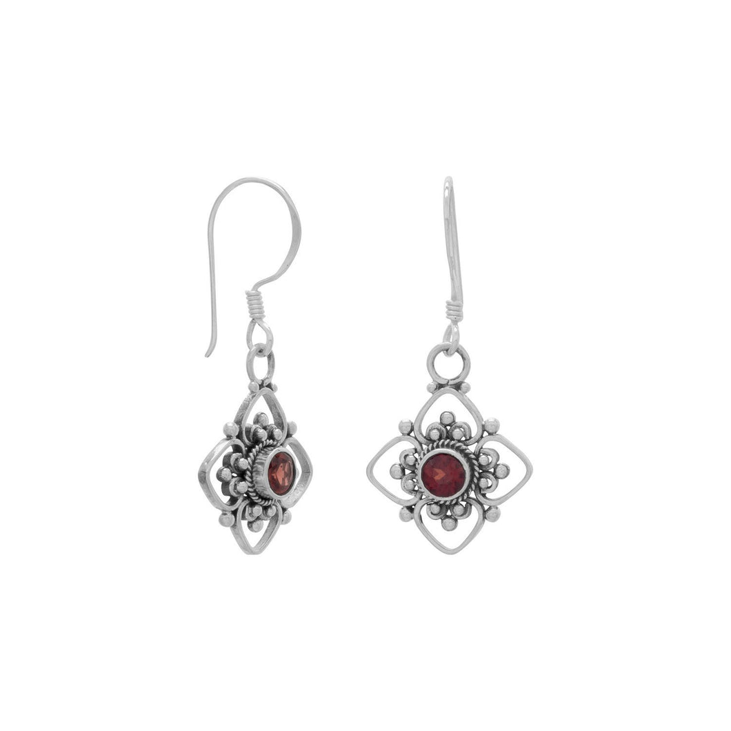 Faceted Garnet and Flower Design French Wire Earrings