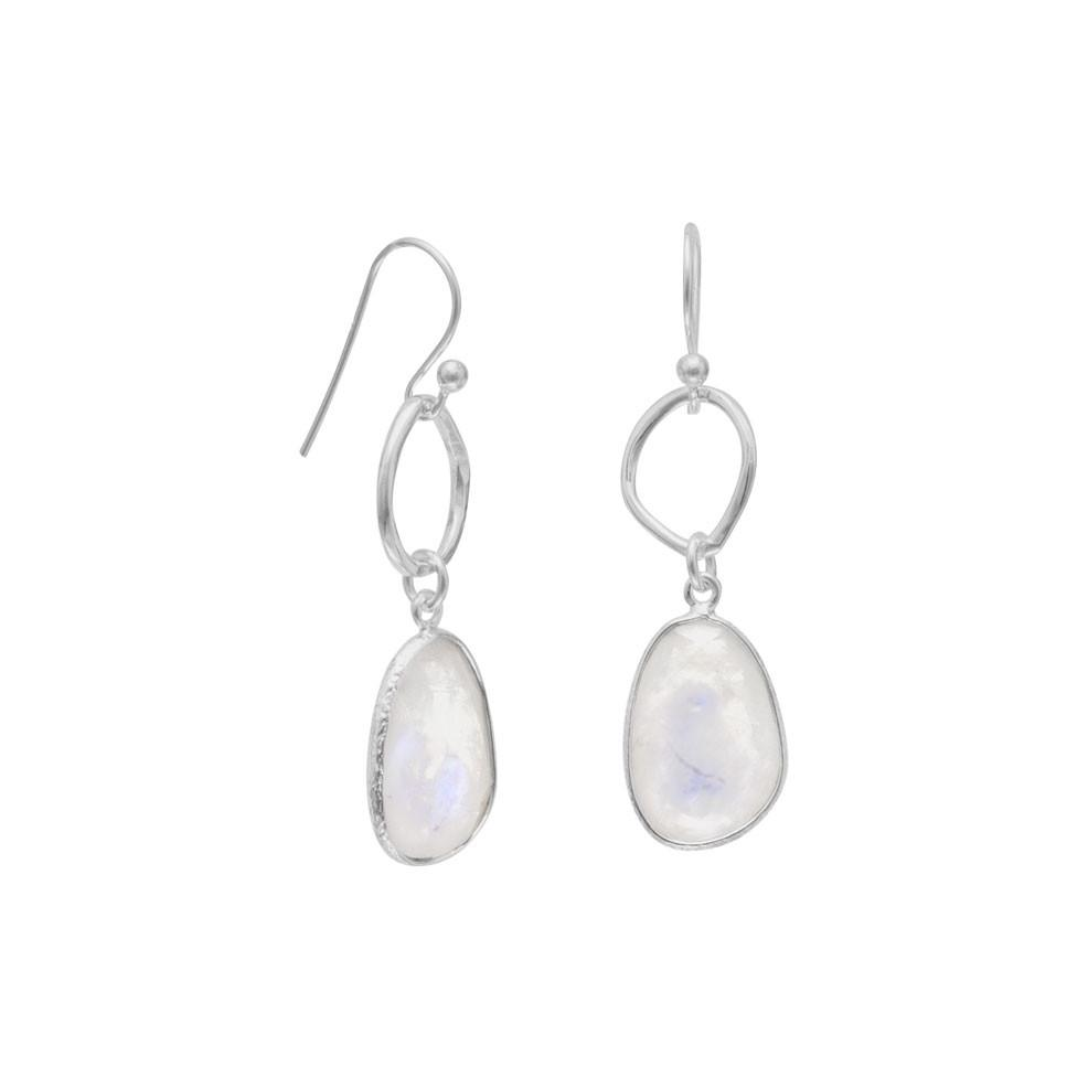 Organic Rainbow Moonstone Drop Earrings