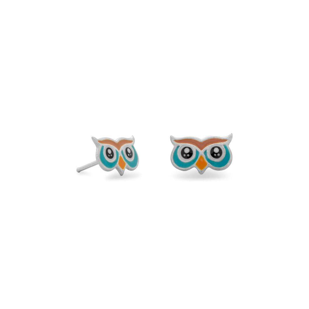 Enamel Owl Stud Earrings
