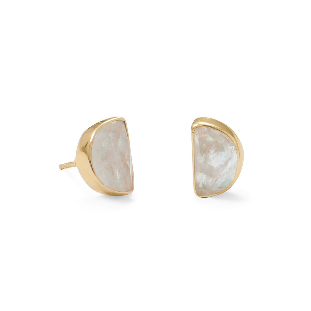 14 Karat Gold Plated Half Moon Rainbow Moonstone Post Earrings