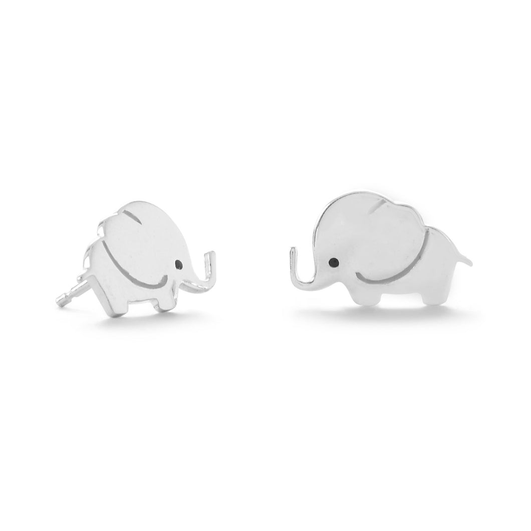 Sterling Silver and Enamel Elephant Stud Earrings