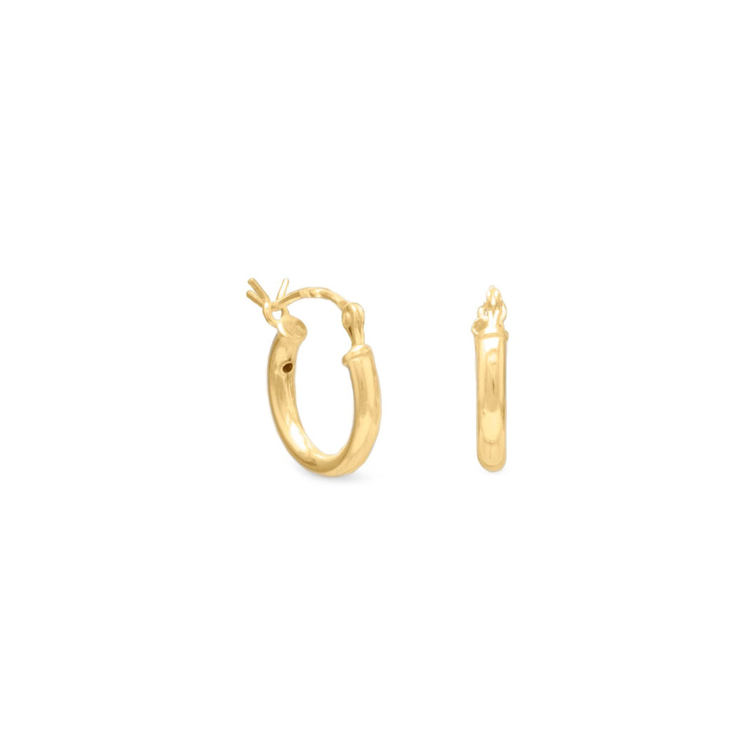 2mm x 12mm Gold Plated Click Hoop