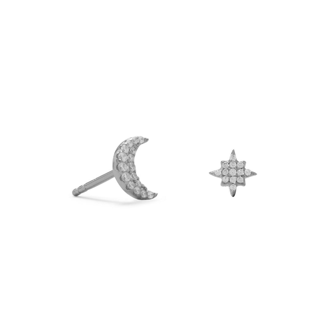Rhodium Plated CZ Moon and Star Stud Earrings