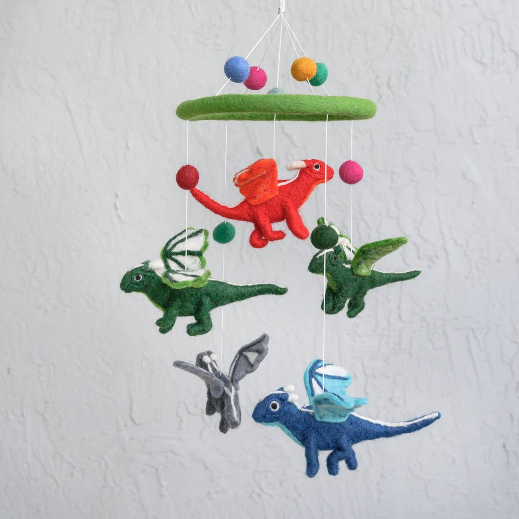 Hand Felted Mobile- Flying Dragon