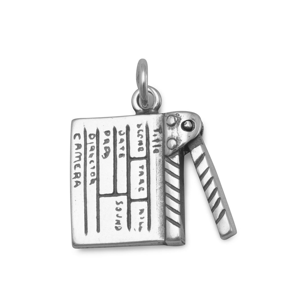 Oxidized Movie Clapboard Charm