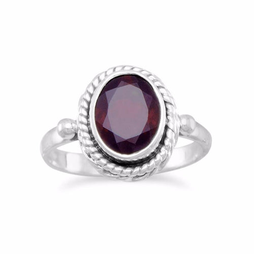 Faceted Garnet Ring With Rope Edge