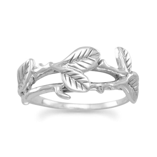 Oxidized Vine and Leaf Ring