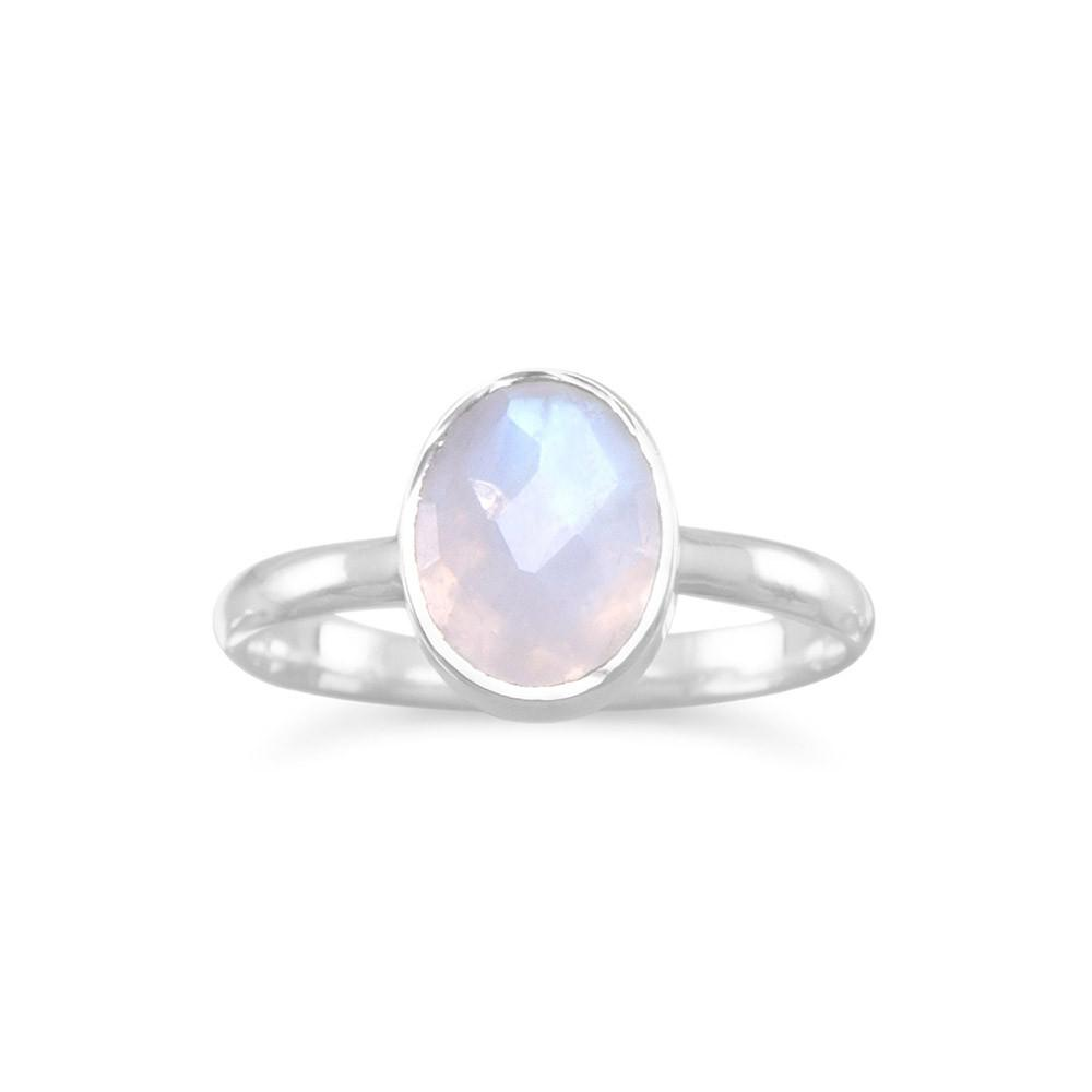 Faceted Rainbow Moonstone Ring