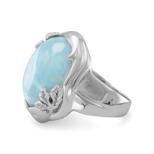 Rhodium Plated Larimar Ring with Leaf Design