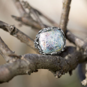 Ornate Large Square Roman Glass Ring
