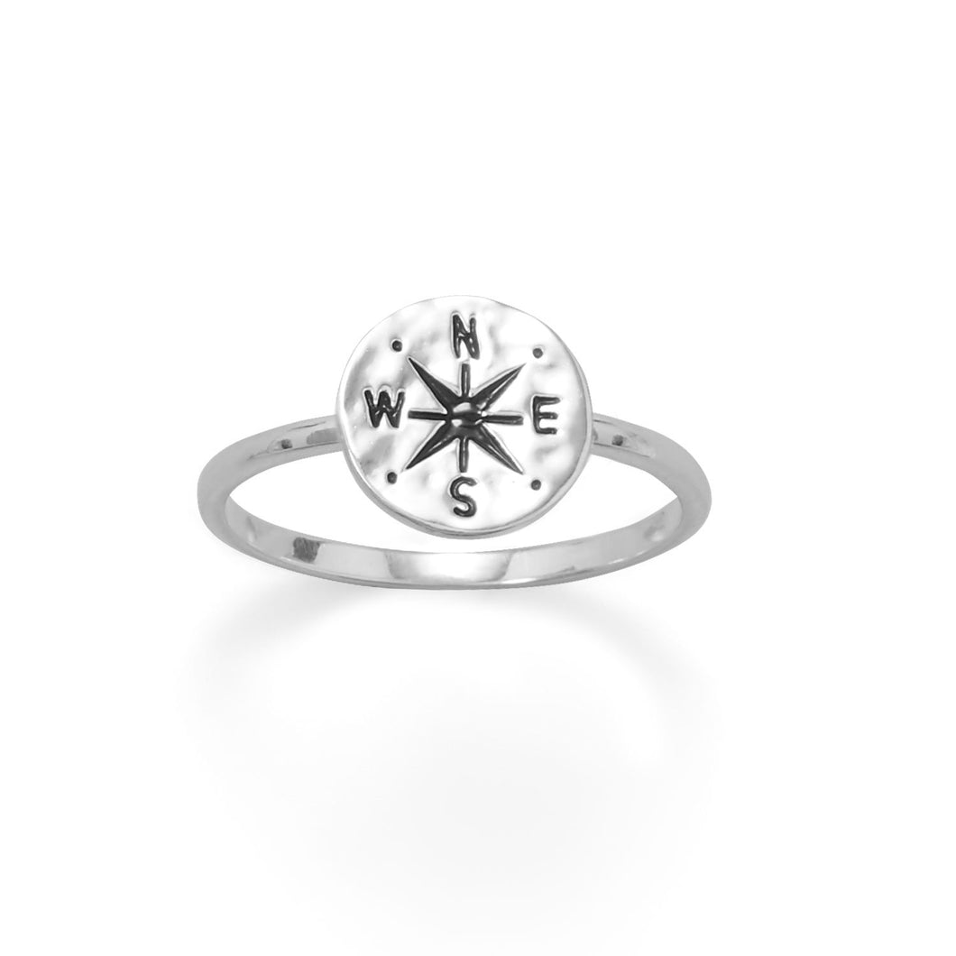 Keep It Moving! Hammered Compass Ring