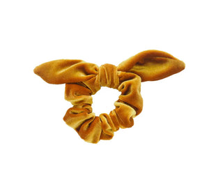 Velvet Scrunchie With a Bow - Gold