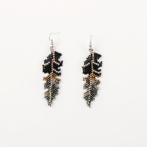 Beaded Feather Earrings - Smoke