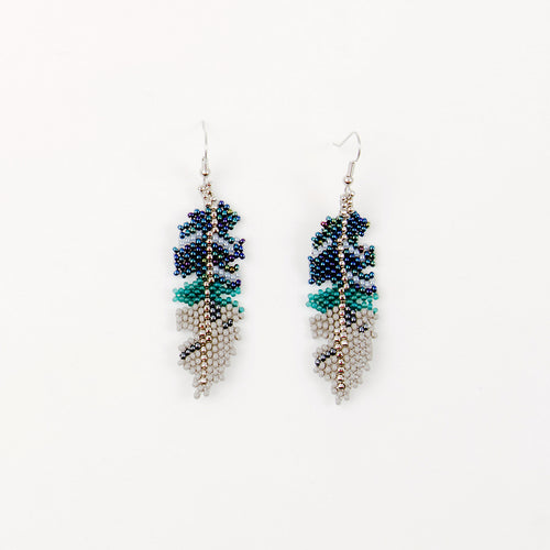 Beaded Feather Earrings - Teal