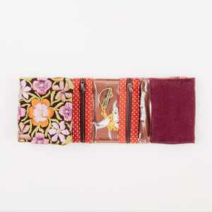Small Embroidered Travel Jewelry Case Earthy Mauve