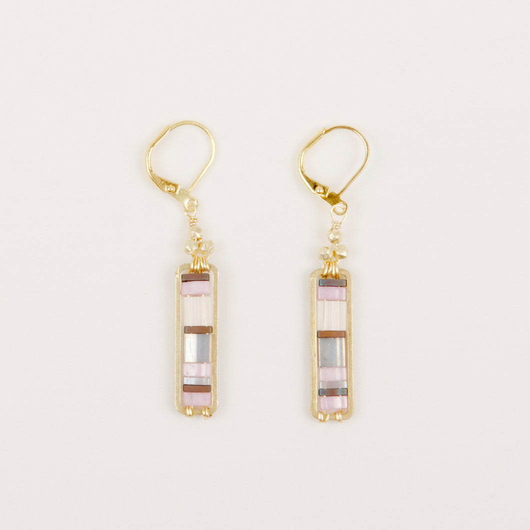 Miyuki Stripe Bead Earrings - Blush