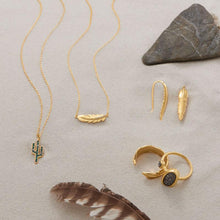 Load image into Gallery viewer, 14 Karat Gold Plate Feather Earrings