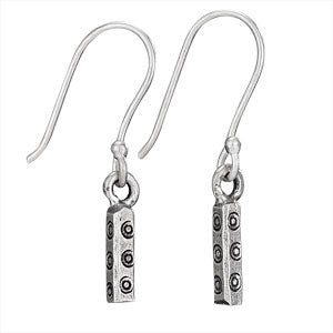 Hill Tribe Stamped Cube Pipe Earrings
