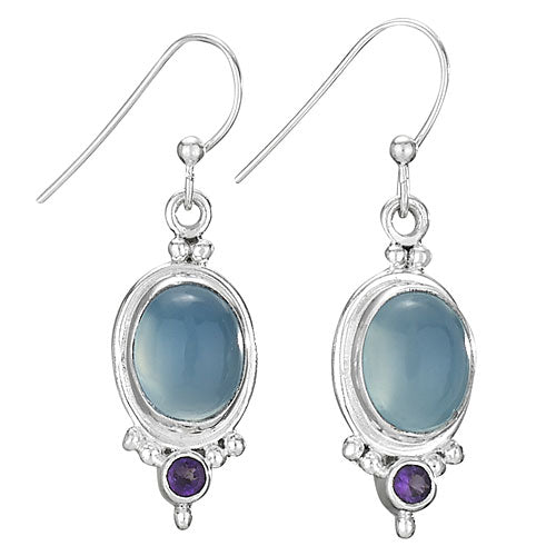 Blue Chalcedony and Amethyst Earrings